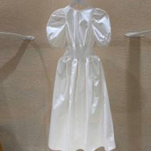 Dress Spring 2021 White, apricot, blue S,M,L,XL Mid length dress singleton  commute Crew neck Elastic waist Solid color Socket Big swing puff sleeve 18-24 years old Korean version