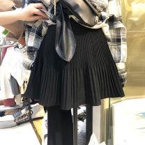 skirt Summer 2021 S,M,L,XL Black, dark brown, light brown Short skirt commute High waist A-line skirt Type A 18-24 years old 51% (inclusive) - 70% (inclusive) other fold Korean version