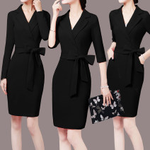 Dress Autumn 2021 Black short sleeve, black medium sleeve, black long sleeve, red short sleeve, red medium sleeve, red long sleeve S,M,L,XL,2XL,3XL Mid length dress singleton  Short sleeve commute Polo collar middle-waisted Solid color Socket One pace skirt routine 25-29 years old Type X Ol style