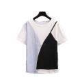 Women's large Summer 2021 White fake two piece stitched T-shirt L [100-120 Jin], XL [120-140 Jin], XXL [140-160 Jin], XXXL [160-175 Jin], XXXXL [175-200 Jin] T-shirt