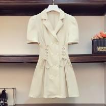 Women's large Summer 2021 Black tie collar dress, apricot tie collar dress L [100-130 kg], XL [130-150 kg], XXL [150-170 kg], XXL [170-185 kg], XXXXL [185-200 kg] Dress
