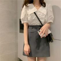 Professional dress suit S,M,L,XL White shirt + dark grey skirt, single white shirt, dark grey skirt Summer 2021 Short sleeve shirt A-line skirt 18-25 years old 96% and above