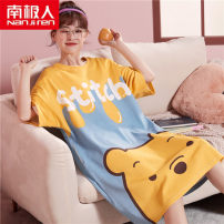 Nightdress NGGGN M,L,XL,XXL Cartoon Short sleeve pajamas Middle-skirt summer Cartoon animation youth Crew neck cotton printing More than 95% pure cotton