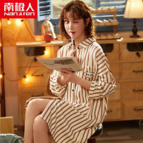 Nightdress NGGGN LT99003,LT99001,LT99002,LT99005,LT99006,LT99007,LT99008,A33283 M,L,XL,XXL,XXXL Simplicity Long sleeves pajamas Middle-skirt autumn stripe youth Small lapel cotton printing More than 95% pure cotton