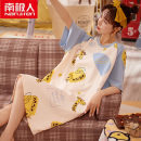 Nightdress NGGGN M,L,XL,XXL Sweet Short sleeve pajamas Middle-skirt summer Cartoon animation youth Crew neck cotton printing More than 95% pure cotton