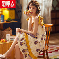 Nightdress NGGGN U2812,D5503,D5501,D5502,D5504,D5505,D5507,ZW2212,D5510,D5511,D5512,D5513,D5514,MJL22101,MJL22102,MJL22103,MJL22104,YNE2202,YNE2205,E3312,E3313,E3314,E3315,E3316 M,L,XL,XXL Sweet camisole pajamas Middle-skirt summer Cartoon animation youth One word collar cotton printing More than 95%
