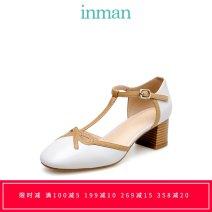 Low top shoes 35,36,37,38,39 Inman / Inman Round head Sheepskin (except cashmere / cashmere) Thick heel Middle heel (3-5cm) Shallow mouth Superfine fiber Spring of 2019 T-shaped buckle grace Adhesive shoes Youth (18-40 years old) Solid color rubber Single shoes Hollow out, thick heel Microfiber skin
