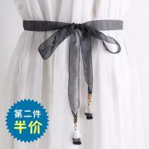 Belt / belt / chain cloth Khaki, black, coffee, aqua, pink female belt Sweet Single loop other Y5 160cm