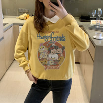Home top Love belly Yellow, yellow 1 M, L Long sleeves Small lapel thickening leisure time winter Cartoon animation cotton pure cotton Socket