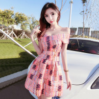 Dress Summer of 2019 Orange pink S,M,L Short skirt singleton  Short sleeve commute One word collar High waist other zipper Big swing other Breast wrapping 18-24 years old Other / other Korean version Zipper, open back, stitching
