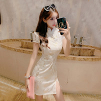Dress Summer of 2019 white S,M,L Short skirt singleton  Short sleeve commute stand collar High waist Decor zipper One pace skirt other Others 18-24 years old Other / other Retro Asymmetry 91% (inclusive) - 95% (inclusive) other polyester fiber