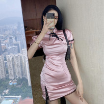 Dress Summer 2021 Lotus, black S, M Short skirt singleton  Short sleeve commute stand collar High waist Solid color zipper One pace skirt other Others 18-24 years old Retro Stitching, lacing, asymmetry, strapping