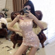 Dress Summer of 2019 Pink S,M,L Short skirt singleton  Sleeveless commute One word collar middle-waisted Solid color zipper One pace skirt other camisole 18-24 years old Other / other Korean version Backless, stitching, sequins other
