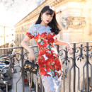 Dress Spring 2020 Decor XS,S,M,L Mid length dress singleton  Short sleeve commute Crew neck One pace skirt MR water Retro More than 95% polyester fiber