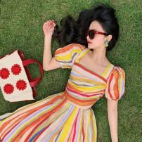 Dress Summer 2020 XS,S,M,L Mid length dress singleton  Short sleeve commute One word collar stripe Pleated skirt puff sleeve Type X MR water Retro More than 95% polyester fiber