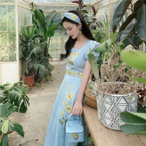 Dress Summer 2020 blue XS,S,M,L Mid length dress singleton  Short sleeve commute square neck Big flower puff sleeve MR water Retro Embroidery 20D139 More than 95% other hemp