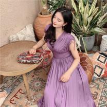 Dress Summer 2020 violet XS,S,M,L Mid length dress singleton  Short sleeve commute V-neck Type X MR water Retro modal