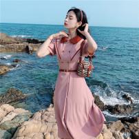 Dress Summer 2021 Pink XS,S,M,L Mid length dress singleton  Short sleeve commute Solid color MR water Retro