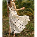 Dress Summer of 2019 Y-spot Jacquard Dress S M L longuette singleton  Sweet Crew neck High waist Dot Socket Big swing camisole 25-29 years old Type A Holiday lady Bandage printing H4091Q1781000 More than 95% polyester fiber Polyester 100% Bohemia