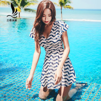 one piece  Sanqi L XL XXL XXXL Decor One piece flat corner swimsuit With chest pad without steel support Nylon spandex 19107-a Spring of 2019 yes Short sleeve stripe Lotus leaf edge