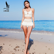 Split swimsuit Sanqi White black M L XL Skirt split swimsuit With chest pad without steel support Nylon spandex Spring of 2019 yes V-neck Sleeveless