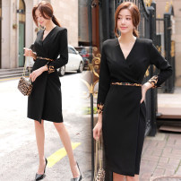 Dress Winter of 2018 black S,M,L,XL Mid length dress singleton  Long sleeves commute V-neck High waist Solid color Socket One pace skirt routine Others 25-29 years old Type H Ol style Pleat, pleat 51% (inclusive) - 70% (inclusive) brocade polyester fiber