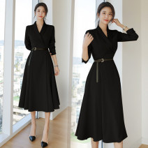 Dress Autumn 2020 black S,M,L,XL Middle-skirt singleton  Long sleeves commute V-neck High waist Solid color other Big swing shirt sleeve Others 25-29 years old Type A Korean version 91% (inclusive) - 95% (inclusive) polyester fiber