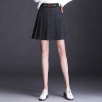 skirt Winter of 2019 M 2 feet, L 2 feet 1, XL 2 feet 2, 2XL 2 feet 3, 3XL 2 feet 4, 4XL 2 feet 5 dark grey Short skirt commute High waist A-line skirt Solid color Type A 91% (inclusive) - 95% (inclusive) knitting Chen Biao polyester fiber Korean version