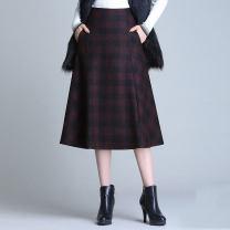 skirt Autumn of 2019 M,L,XL,2XL,3XL,4XL Mid length dress Versatile High waist A-line skirt lattice Wool pocket