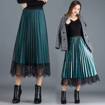 skirt Autumn of 2019 Average size (recommended 80-150 kg) Black, malachite blue, champagne, grey blue Mid length dress gorgeous High waist Pleated skirt Solid color Type A XQW-3362 knitting Chen Biao