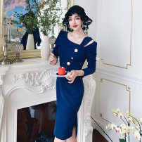 Dress Spring 2020 Navy Blue S,M,L Middle-skirt singleton  three quarter sleeve Sweet Slant collar routine Others 25-29 years old Other / other college