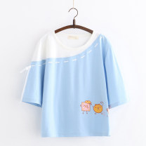 T-shirt Blue, pink, black Average size Summer of 2019 elbow sleeve Crew neck easy Regular other Sweet cotton 51% (inclusive) - 70% (inclusive) 18-24 years old youth Cartoon animation Other / other RX diagonal shoulder dotted cartoon t Print, stitching, lace up solar system