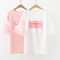 T-shirt Pink, white Average size Summer of 2019 elbow sleeve Crew neck Straight cylinder Medium length other Sweet cotton 51% (inclusive) - 70% (inclusive) 18-24 years old youth letter Other / other CZ lace sleeve letter long t Printing, stitching, mesh Mori