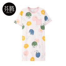 Nightdress Finthen  White / x98222272 white / x98222683 Pink / x98222679 elegant white / x98222696 155/S 160/M 165/L 170/XL 175/XXL girl Short sleeve Leisure home Middle-skirt summer letter youth Crew neck cotton Embroidery More than 95% pure cotton X98222272 200g and below Summer 2021 Cotton 100%