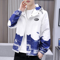 Jacket Semir / SEMA other White, black M,L,XL,2XL,3XL,4XL thin standard Other leisure spring zy58333 Polyester 100% Long sleeves Wear out Hood Youthful vigor teenagers routine Zipper placket 2021 Straight hem No iron treatment Regular sleeve Gradients polyester fiber printing Three dimensional bag