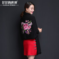 Scarf / silk scarf / Shawl polyester Red and black Spring and autumn and winter female Shawl decorate ethnic style middle age Plants and flowers Embroidery 76cm 190cm Gangan world Autumn 2016