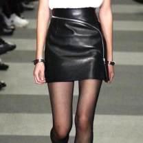 skirt Autumn of 2018 XS,S,M,L,XL,2XL,3XL,4XL Black diagonal zipper longuette Versatile High waist A-line skirt Solid color Type A 25-29 years old FS8038 Sheepskin Other / other Sheepskin