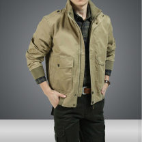 Jacket Jeep shield Fashion City Green with cashmere, black with cashmere, khaki with cashmere, green without cashmere, black without cashmere, khaki without cashmere routine easy go to work autumn 2+2+3+1+a Long sleeves Wear out stand collar American leisure middle age routine Zipper placket 2020