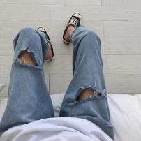 Women's large Summer of 2019 Denim blue (premium) S [recommended 80-90 kg], m [recommended 90-100 kg], l [recommended 100-120 kg], XL [recommended 120-140 kg], 2XL [recommended 140-160 kg], 3XL [recommended 160-180 kg], 4XL [recommended 180-200 kg] Jeans singleton  commute easy thin Solid color Denim