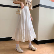skirt Summer 2020 S,M,L,XL,2XL White, purple, black Mid length dress commute High waist other Solid color 18-24 years old 91% (inclusive) - 95% (inclusive) other Korean version