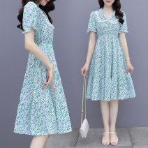 Dress Summer 2021 Picture color S,M,L,XL Middle-skirt singleton  Short sleeve commute Doll Collar High waist Broken flowers Single breasted A-line skirt routine Others 30-34 years old Type A Korean version Splicing summer 51% (inclusive) - 70% (inclusive) other other