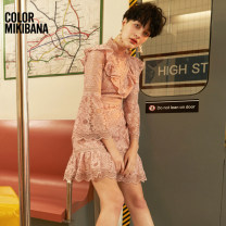 Dress Summer 2020 pink S M L XL Mid length dress singleton  elbow sleeve commute Half high collar middle-waisted zipper A-line skirt pagoda sleeve 30-34 years old Type A MIKIBANA Korean version Lace More than 95% polyester fiber Polyester 100% Same model in shopping mall (sold online and offline)