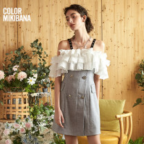 Dress Summer 2020 Ash (second batch) S M L XL Mid length dress singleton  Short sleeve commute One word collar middle-waisted Solid color Socket Cake skirt other Breast wrapping 30-34 years old T-type MIKIBANA Korean version backless M02OD0630 81% (inclusive) - 90% (inclusive) other polyester fiber