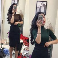 Fashion suit Summer 2021 S,M,L Dark coffee medium sleeve top + black skirt, military green medium sleeve top + black skirt, dark coffee Long Sleeve Top + black skirt, military green long sleeve top + black skirt