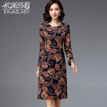 Middle aged and old women's wear Spring 2021, winter 2021, autumn 2021 Decor M,L,XL,2XL,3XL,4XL,5XL,6XL commute Dress Self cultivation singleton  Decor 40-49 years old Socket moderate Crew neck Medium length routine DX18B097 Yixi Xiuli zipper polyester 81% (inclusive) - 90% (inclusive) zipper skirt