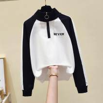 Sweater / sweater Spring 2021 Red, black, blue S [recommended 85-100 kg], m [recommended 100-115 kg], l [recommended 115-130 kg], XL [recommended 130-145 kg] Long sleeves routine Socket singleton  Thin money stand collar Straight cylinder street routine Color matching 18-24 years old cotton cotton