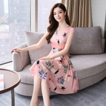 Dress Summer of 2018 Pink Beige M L XL 2XL Middle-skirt singleton  Short sleeve commute Crew neck middle-waisted Broken flowers Socket Big swing routine 25-29 years old Type A Other / other Korean version Bow tie zipper print LSNY988388 More than 95% Silk and satin