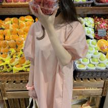 Dress Summer 2021 Pink Average size Middle-skirt singleton  Short sleeve commute Crew neck Loose waist stripe Socket other bishop sleeve 18-24 years old Type H Korean version pocket