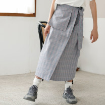 skirt Autumn of 2019 S,M,L Grey check (in stock) Mid length dress Versatile High waist A-line skirt lattice Type A E190806 91% (inclusive) - 95% (inclusive) other Plain white already cotton Pocket, button
