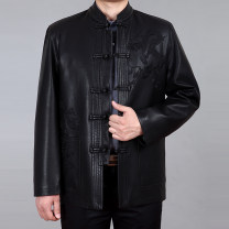 leather clothing Yeshxycn / hexinyi Business gentleman black 170/M 175/L 180/XL 185/2XL 190/3XL 195/4XL routine Leather clothes stand collar easy Single breasted autumn leisure time middle age PU Business Casual Straight hem Mingji thread patch bag Button decoration No iron treatment Spring of 2019